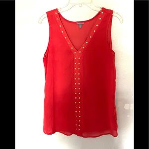 CHARLOTTE RUSSE sleeveless studded coral blouse-M